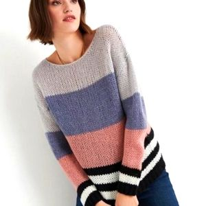 LUCKY Brand Colorblick Knit Weave Sweater sz L